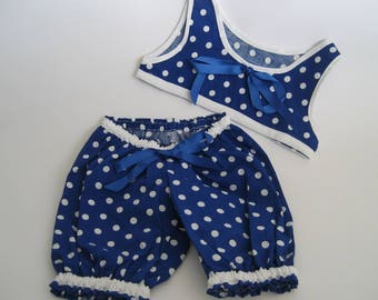Teddy Bear Clothes, 'Morgan' Royal Blue and White Cotton Top & Pants Set