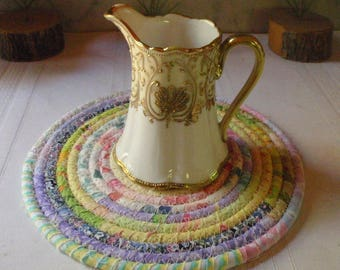 Coiled Fabric Hot Pad, Trivet, Candle Mat - Pastel Bohemian - Handmade by Me