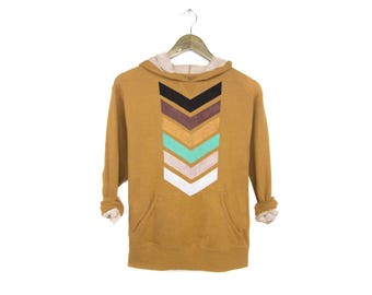 Geo Chevron Hoodie - French Terry Sweatshirt, Slouchy Arrow Pullover, Hooded Jumper in Gold Heather - Women's Size S-XL