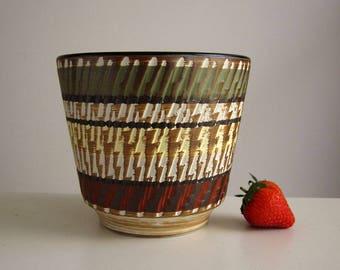 1960s mid century Terra flower pot / Vintage German fat lava plant vase