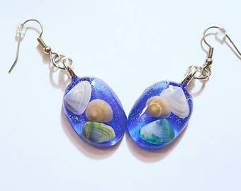 Real Sea Shell Earrings Resin Glitter Bohemian Jewelry Beach Ocean Shore Surgical Steel Sensitive Ears Boho Blue