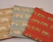Eco Elephants Trivet Potholder Hot Pad Insulated Red Beige Blue Recycled Upcycled Fabrics