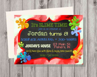 Digital Red Slime Making (Slime Time) Craft Birthday Party Boy or Girl Invitation Printable