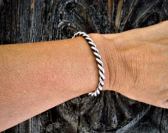 1960s-70s Sterling Silver Twisted Stacking Cuff Bracelet Native American Navajo