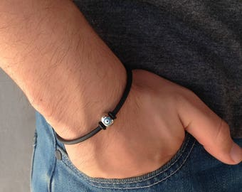 Greek turquoise evil eye bracelet - rubber - Stainless steel - protection - Greek jewelry - For her or for him