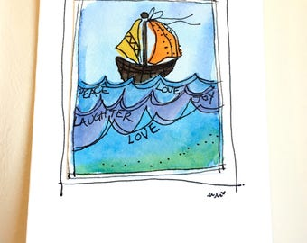 "Tiny Boat Wishes Note Watercolor Original ""Little Card"" 31/2"" x 47/8"" Watercolor Card and Envelope Inside etrueoriginals"