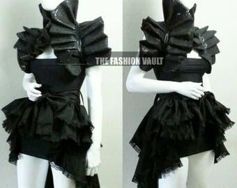 Dramatic Ringmaster Goth Bustle  Burlesque skirt and shoulder collar shrug wrap Steampunk  Cosplay Ball dance