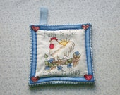 early to bed early to rise rooster and sunshine  insulated potholder with loop to hang