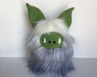 Monster Plushie - Stuffed Monster - Handmade White Monster Doll - Cuddly Boy Monster Softie - Soft Toy Plush Monster - Fuzzling Monster OOAK
