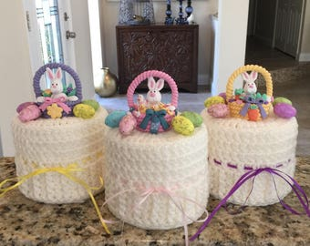 Easter Basket Toilet Paper Cover, Bunny Toilet Paper Roll Cover, Easter Egg Bathroom Decor, Toilet Paper Cozy READY TO SHIP