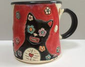 RESERVED FOR CH. Cat and Flower Measles Mug, Animal Pottery
