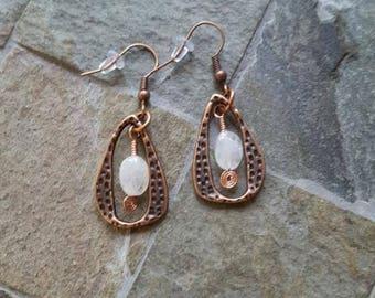Moonstone Oval Copper Earrings - Dangle Earrings - Hammered Copper - BoHo Look - Bohemian Inspired - Moonstone Gemstone