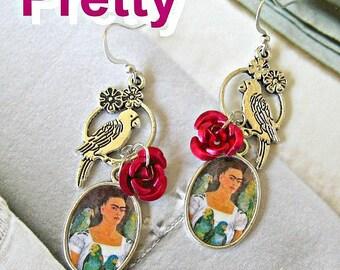 Frida Kahlo earrings my parrots and me unique new design dia de los muertos Mexico folk altered art aretes mexican
