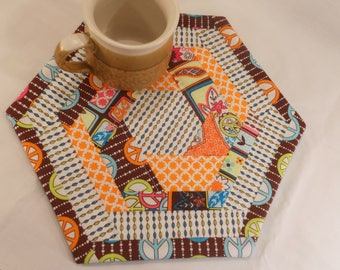 Quilted Hexagon Hot Pad, Table Topper or Mug Rug