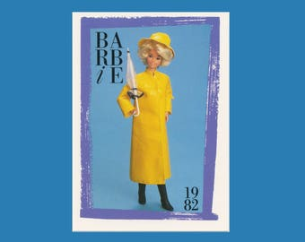 """Barbie Collectible Trading Card - """"Barbie Fashion Favorites"""" 1982 - Card No. 136 * 5527-0147 Barbie collectors, dioramas, Yellow Rain Coat"""