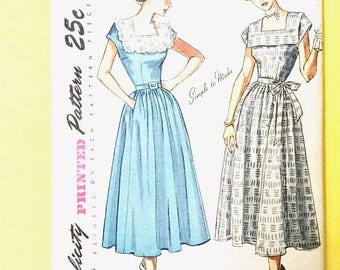 ON SALE Uncut 1940s or early 50s Simplicity 2908 Dress Pattern NO Directions Vintage Sewing Pattern Bust 36