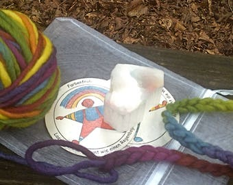 Treasure Ball with Fractured Selentie (TV Rock)--1 Ounce Rainbow Bulky Wool Yarn-- Plant Dyed