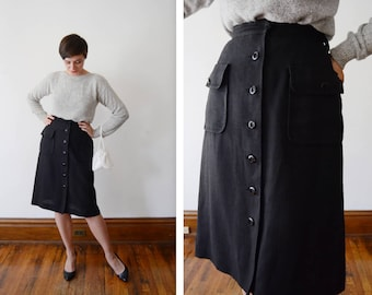 1960s Black Button Up Pencil Skirt with Pockets - S