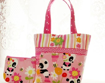 Cute Pandas Little Girls Purse Mini Tote Bag and Coin Purse Set Gardening Panda with Flowers Bumblebees Pink Lime Handmade MTO