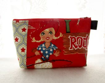 Retro Rodeo Cowgirl Sisters of the Wild Frontier Fabric Large Cosmetic Bag Zipper Pouch Padded Makeup Bag Zip Pouch Alexander Henry Red