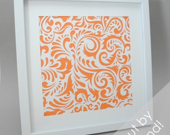 delicate SWIRLS - PAPER CUTTING - handmade art, unique wall art, details, pattern, texture, choose your own color, square, modern art, white