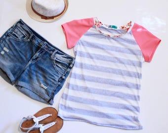 Sailor Striped Tshirt Women, Pink Sleeve Tee, Summer Fashion, Womens Summer Tops, Womens Tshirts