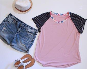 Pink Tshirt, Polka Dot Sleeve Tee, Plus Size Clothing, Womens Summer Tops, Summer Fashion