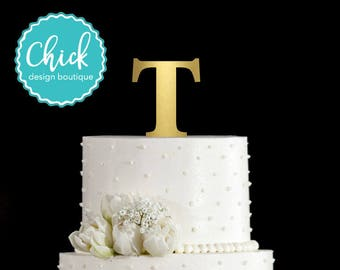 Monogram Letter T Cake Topper Unique & Traditional Fonts A B C D E F G H I J K L M N O P Q R S T U V W Y Z Hand Painted in Metallic Paint