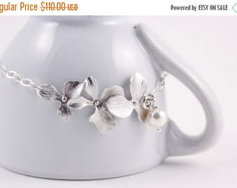 ON SALE Wedding Jewelry Set of 5 Triple Orchid Silver Bridesmaid Bracelets