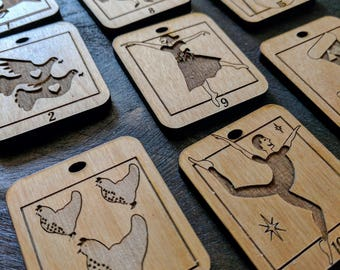 Wooden Advent Calendar Ornaments with the 12 Days of Christmas