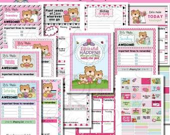 Busy Mama Bear Planner Set  - Digital Printable - Immediate Download