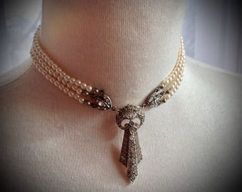 La Belle Epoque inspired Bridal Rhinestone and Pearl Choker
