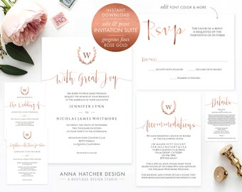 Rose Gold Wedding Suite, DIY Monogram Wreath Calligraphy Invitation, RSVP Reply, Accommodation, Details, Reception Template, WED1C printable