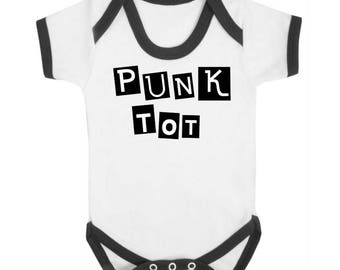 Punk Tot White with Black Contrast Baby Vest, Goth, Punk, Bodysuit, Alternative