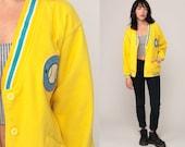 Baseball Cardigan Fleece Sweater 80s Sweatshirt Yellow AMERICAN ALL STARS 1980s Vintage Oversized Button Up Sports Athletic Small Medium
