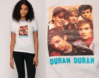 Duran Duran Shirt Vintage Band T Shirt 80s Tour Tshirt Ringer Tee 1980s White Classic Rock Concert Tee Burnout Iron On Extra Small xs
