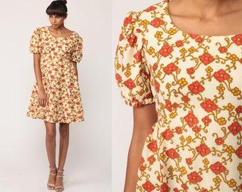 Boho Floral Dress 70s Mini PUFF Sleeve WOOL Hippie Bohemian Empire Waist 1970s Festival Peasant Vintage Cream Red Small