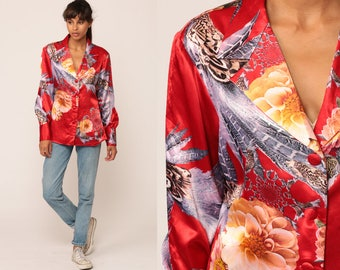 Satin Blouse Floral Shirt PSYCHEDELIC FEATHERS Long Sleeve Top 90s Grunge Silky Red Button Up Collared Shirt 1990s Hipster Medium