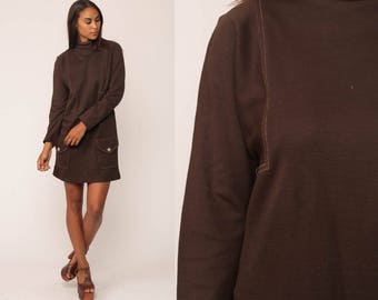 Mod Mini Dress 60s Shift Funnel Neck Micro 70s POCKET Space Age Brown Plain Polyester Vintage Long Sleeve High Neck Large