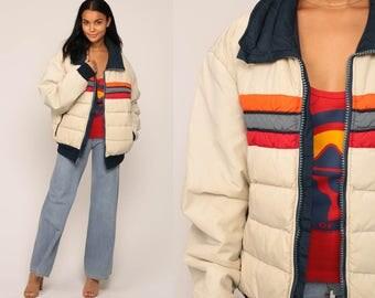 Retro Ski Jacket Puffer Jacket 70s Striped Puffy Coat Winter Puff Jacket Beige Boho 80s Hipster Vintage Bohemian Large