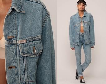 80s Denim Jacket WRANGLER Vintage Jean HORSE Oversized Trucker Grunge Biker Blue Stone Wash Button Up 1980s Hipster Coat Extra Large xl fIKC9DT