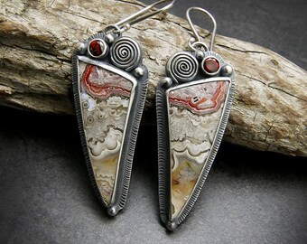 Crazy Lace Agate and Faceted Garnet Multi Gemstone Sterling Silver Dangling Earrings