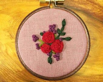 Handmade wool floral embroidery 3 inch hoop