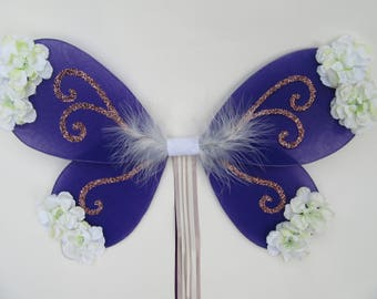 Purple and ivory flower fairy wings, flower girl, glitter fairy princess,  country wedding