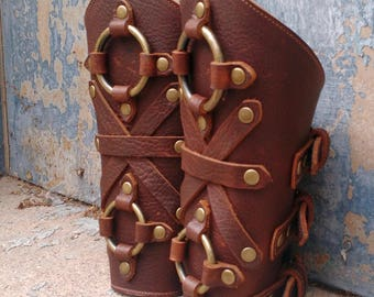 Oiled Brown Leather Peaked Bracers or Gauntlets with Antiqued Brass Double Rings and Hardware