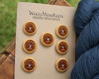 7 Yellow Tree Buttons- Cascara Wood- Wooden Buttons- Eco Craft Supplies, Eco Knitting Supplies, Eco Sewing Supplies