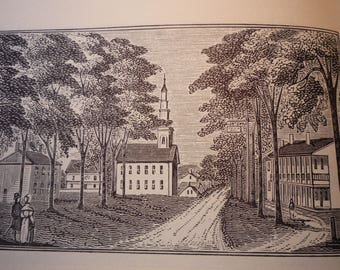 Deerfield Massachusetts Town Engravings 1840 reprinted 1964 - New England Cities Antiquarian Society - framable gift town history