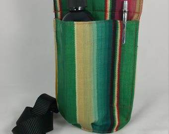 Massage Therapy single 8oz lotion bottle LEFT hip holster, pen holder, woven stripes, black belt
