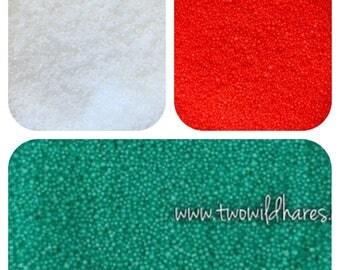 CHRISTMAS JOJOBA BEAD Set, Red, Green, White, 20/40 Exfoliant Safe Alternative to Microbeads for Bath Products, 3 oz total