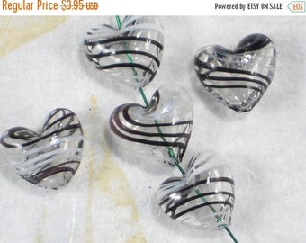 ON SALE 4 Hearts Hand Blown Glass Beads 16mm Black & White Striped (C427)
